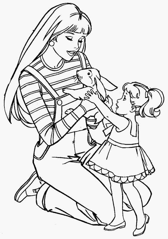 Barbie and her little sisters coloring pages coloring pages for Sister coloring pages