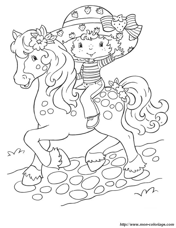 picture strawberry shortcake on a horse