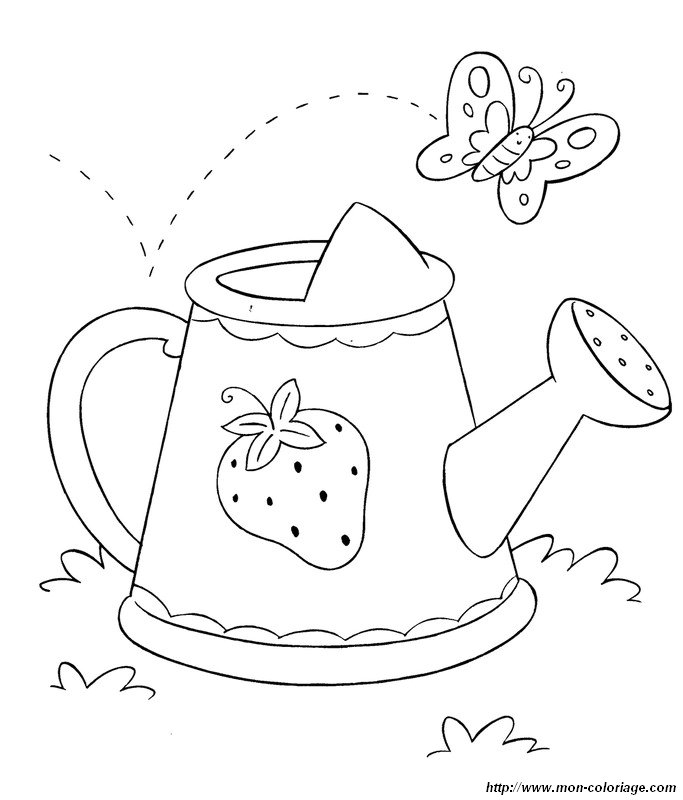 picture watering can and butterfly
