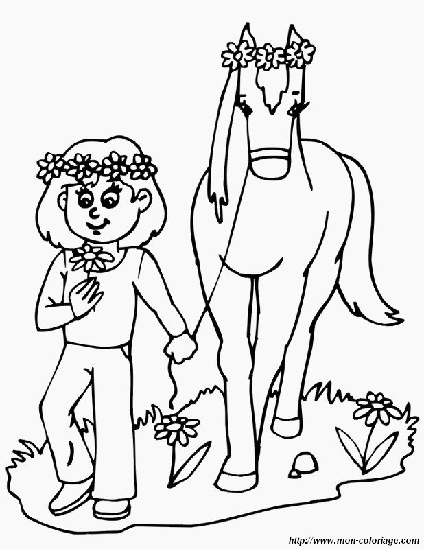 picture little girl with horse