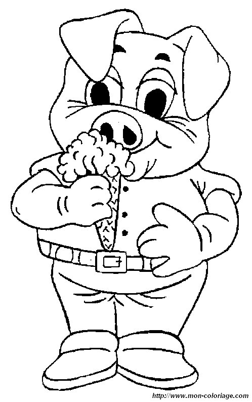 picture pig eating ice cream
