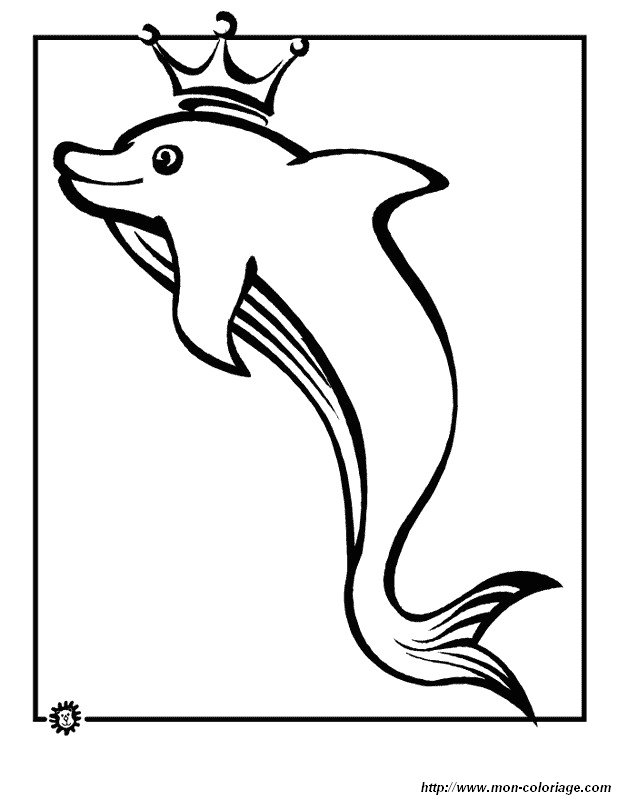 Coloring dolphin page the king of the dolphins for Dolphin coloring pages to print out