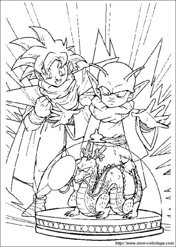 Coloring Dragon Ball Z Page Gohan And A Little Dragon