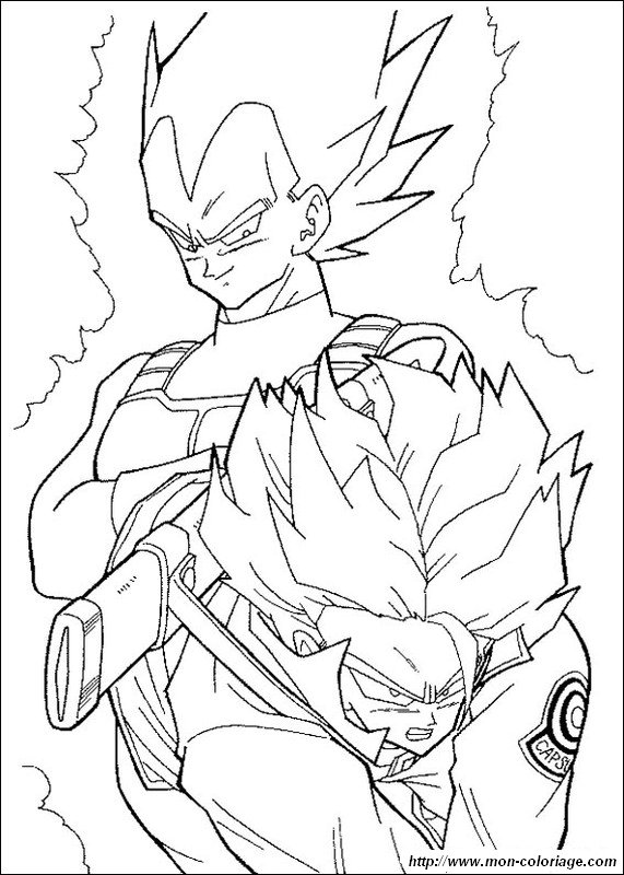 Coloring dragon ball z page vegeta and trunks super saiyan for Super saiyan trunks coloring pages