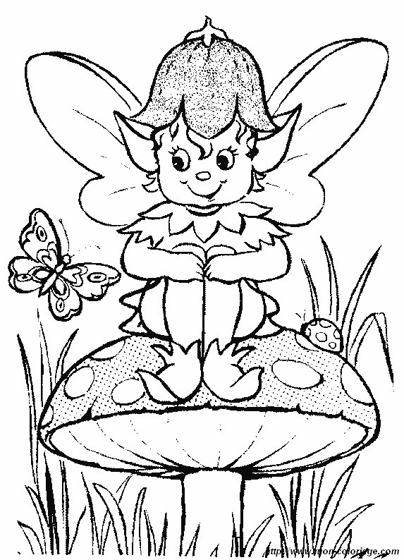 coloring Elf, page elf with butterfly and mushroom