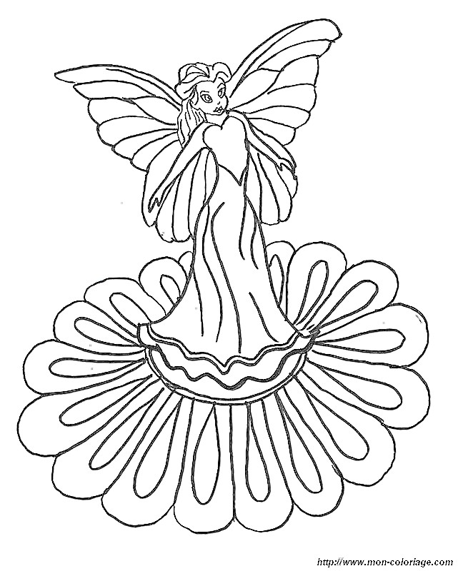 coloring fairy page fairy on flower