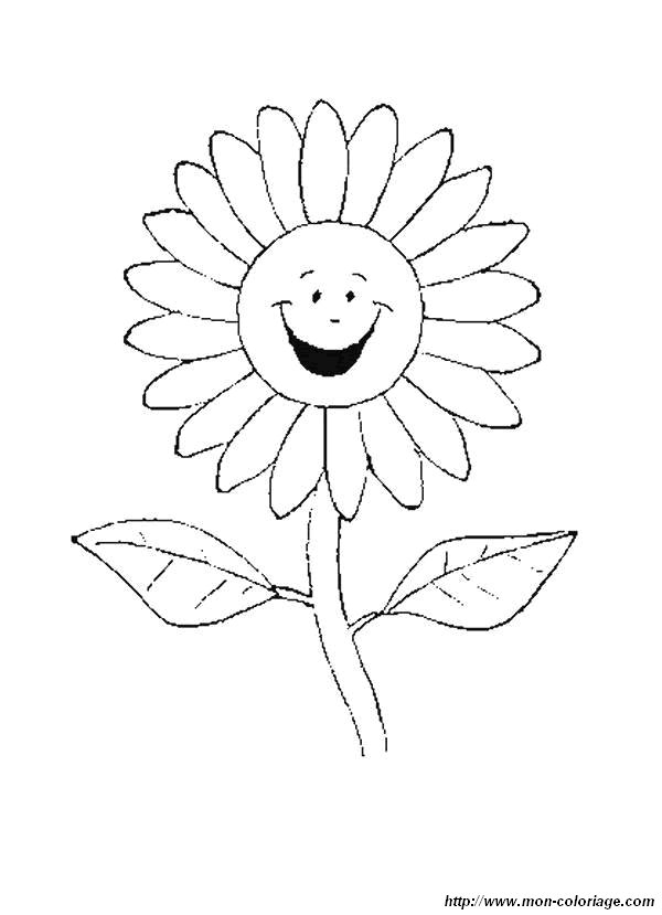 Coloring Flower Page Smiling Daisy
