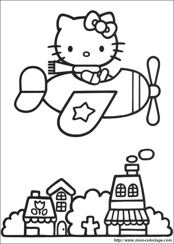 Coloring Hello Kitty Page In A Little Plane
