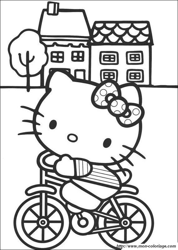 Coloring Hello Kitty Page On Her Bicycle