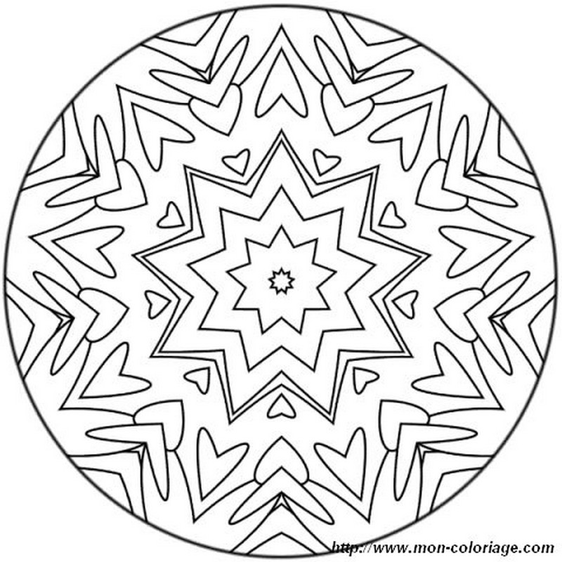 Coloring mandalas page stars and hearts for Hearts and stars coloring pages