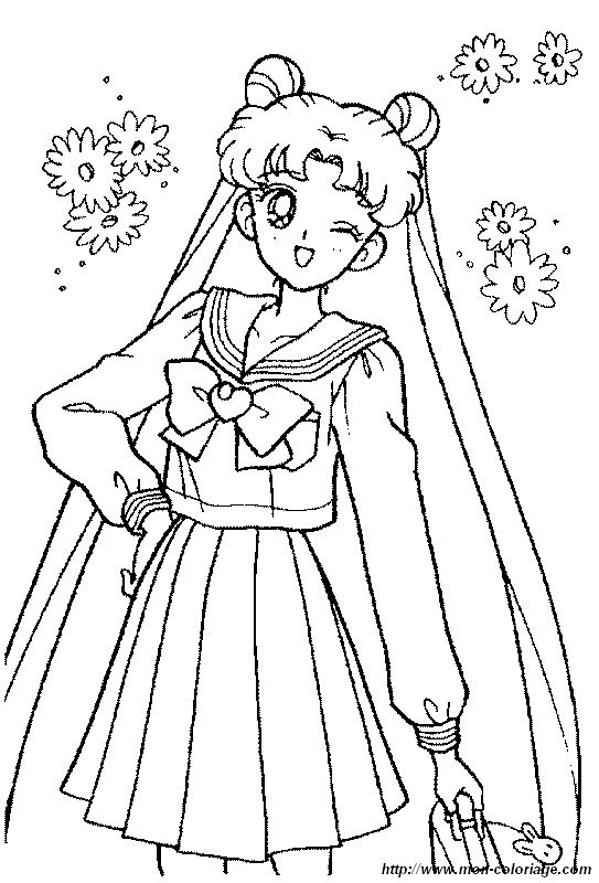 Coloring manga page sailor moon pretty dress for Coloring pages of pretty dresses
