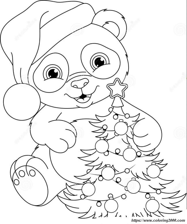 picture Little panda and christmas tree