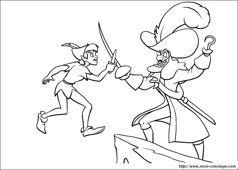 Coloring peter pan page captain hook and peter pan for Disegni peter pan