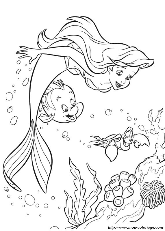 coloring The little mermaid, page ariel and life under the sea