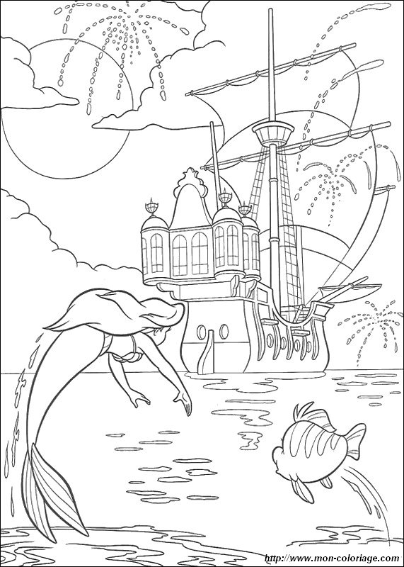 Coloring The Little Mermaid Page Boat And Fireworks
