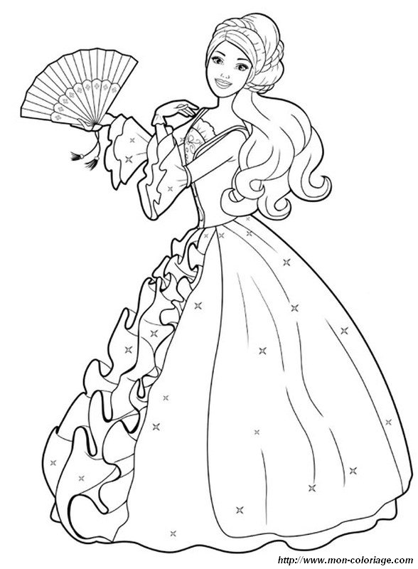 Coloring Prince Princess  Page Barbie With A Beautiful Dress