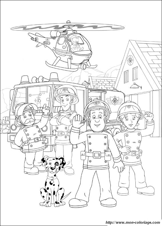coloring Sam the fireman, page sam fireman to color
