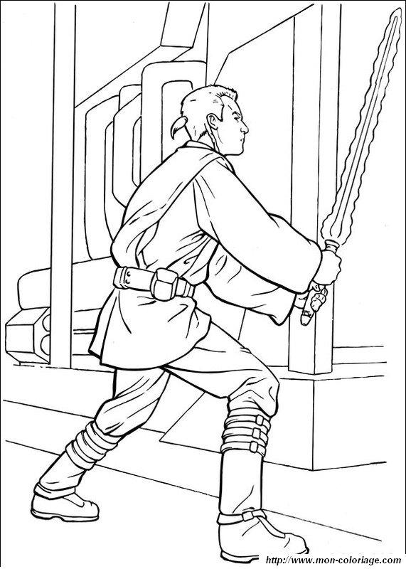 coloring Star wars, page obi wan kenobi fighting