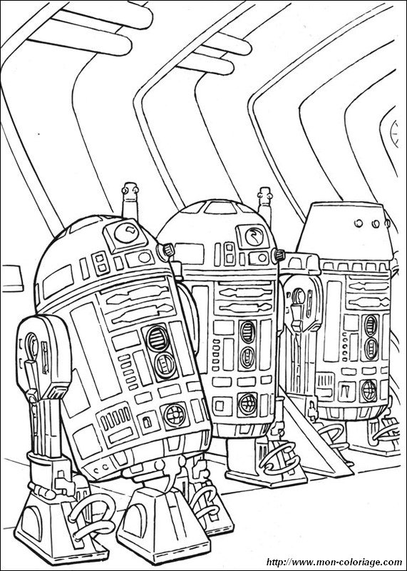 Coloring Star Wars Page R2 D2 With Droids Friends