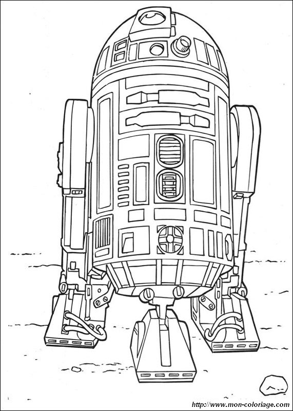 Coloring Star Wars Page R2d2