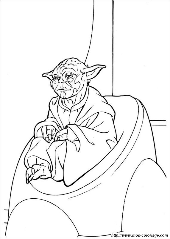 Coloring star wars page yoda for Yoda coloring pages